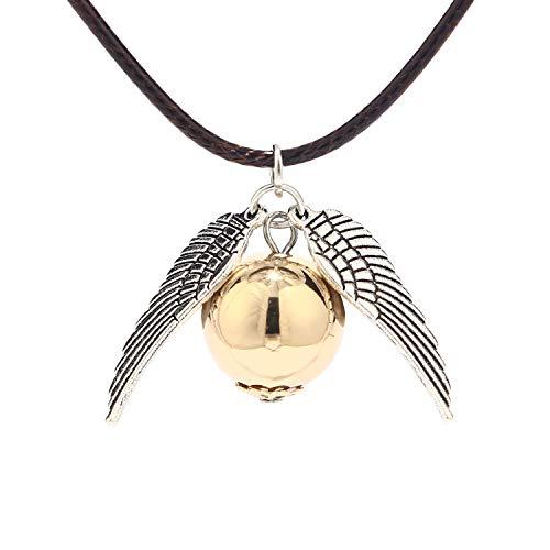 BaubleStar Fanartikel Kette mit Goldener Schnatz Anhänger Silber Leder Halskette Geschenk Schmuck für Fans