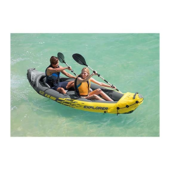 Intex explorer k2 kayak, 2-person inflatable kayak set with aluminum oars and high output air pump 10 comfortable for anyone: kayak includes an adjustable inflatable seat with backrest; cockpit designed for comfort and space dimensions: inflated size 10 feet 3 x 3 feet x 1 feet 8 inch; maximum weight capacity: 400 pounds directional stability: removable skeg for directional stability