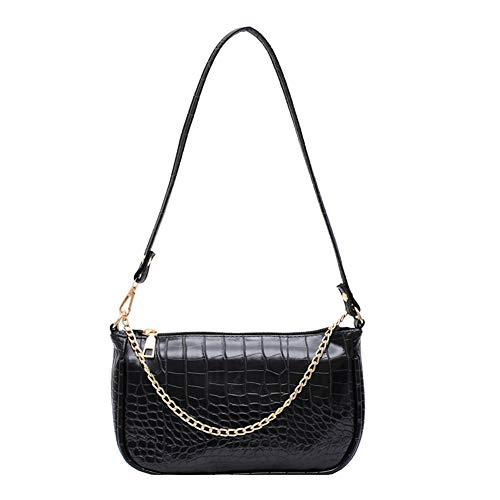 Damen Schultertasche Krokodilmuster Leder Unterarm-Paket Frauen Clutch Bag, Retro Krokoprägung Schultertasche Handtaschen Bag Vintage Handtaschen (Schwarze Kette, 23.5cm*13cm*6cm)