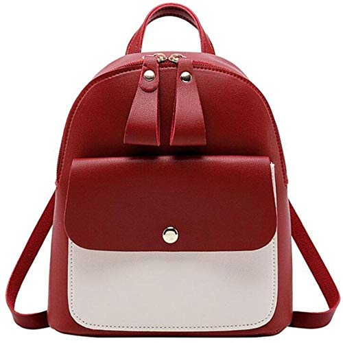 NVT Backpack Women PU Leather Shoulder Bag For Teenage Girls Small Bagpack Female Ladies School Backpack,red 2
