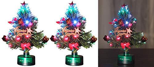 PEARL Fiberglas-Weihnachtsbaum: 2er-Set LED-Weihnachtsbäume mit Glasfaser-Farbwechslern (Weihnachtsbaum beleuchtet LED)