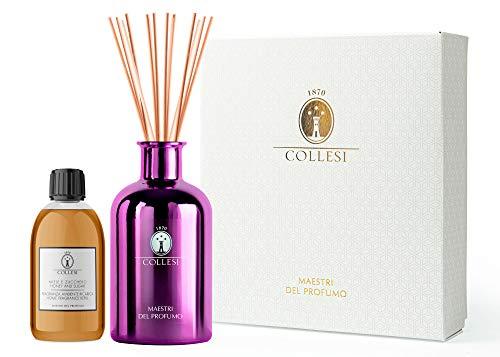 Collesi Kit Profumatore Ambiente con Bastoncini, Fragranza Miele e Zucchero + Diffusore Viola Metallizato in Vetro - 300 ml