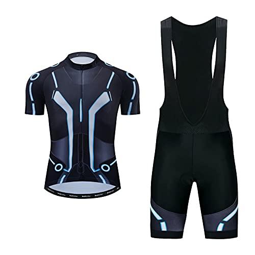 logas Abbigliamento Completo Ciclismo Uomo Tuta Bici da Corsa Estivo Maglia MTB Manica Corta + Pantaloncini Imbottiti