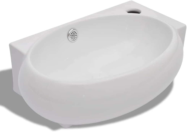 Ceramic Washbasin Wash Basin Ceramic Sink Overflow White