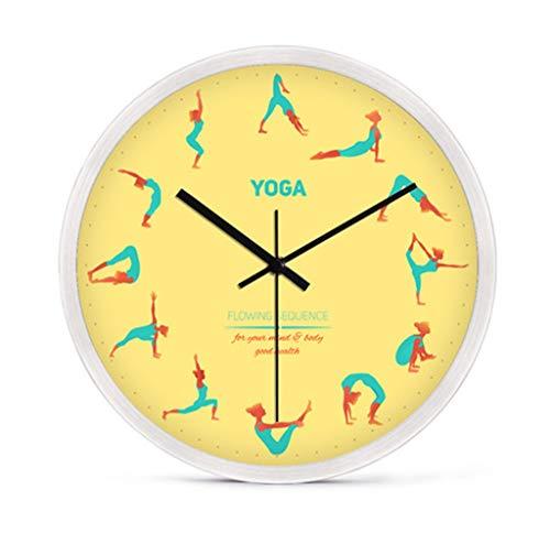 Reloj de pared Estudio de yoga Gimnasio Decoración Diseño de yoga Posición de yoga Reloj de silueta - Reloj de pared de yoga 30 cm