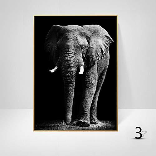 WSNDGWS Nordic moderne minimalistische olieverf cartoon olifant zebra giraffe luipaard dier frameloze decoratieve schilderij woonkamer schilderij kern zonder fotolijst 60x90cm C5