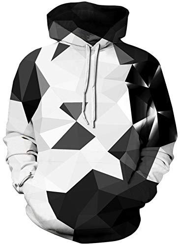 Loveternal 3D Hoodie Geometrisch Kapuzenpullover Long Sleeve Geometric Sweatshirt für Männer Frauen XL