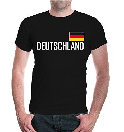 buXsbaum Herren T-Shirt Deutschland Germany Allemagne Alemania Europa   Ländershirt Fanshirt Trikot Reise   XL, Schwarz