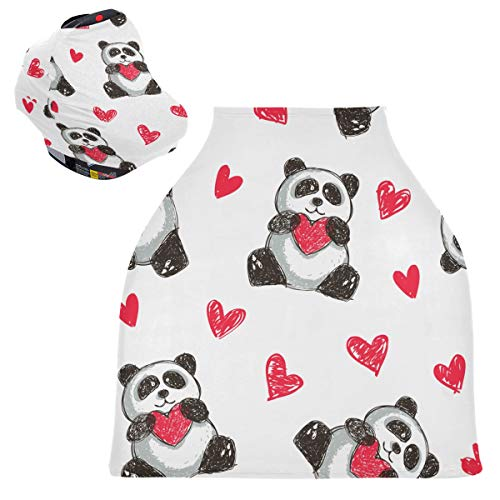 Sinestour Panda Holding Heart - Fundas para asiento de coche de bebé, cubierta para carrito de la compra, toldo multiusos para asiento de coche, para recién nacidos