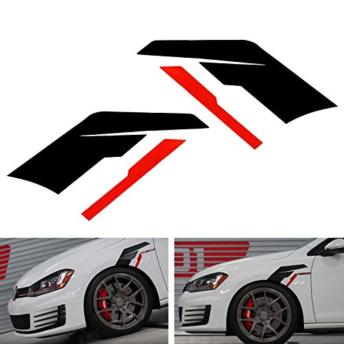 iJDMTOY Set of Black w/Red Stripe Driver/Passenger Side Sideburn Fender Decals Compatible With Germany Car Audi BMW Mercedes Porsche MINI Volkswagen