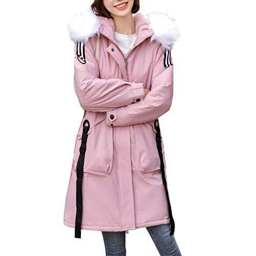 Xmiral Daunenjacke Damen Dicker Kapuzenmantel Schlanke, mit Baumwolle Gefütterte Jacke Lange Mantel Winter Herbst Warm Trenchcoat(Rosa,XL)