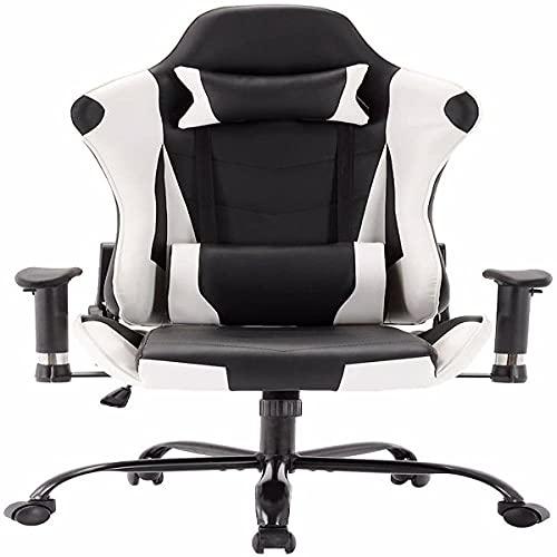 Avv Racing Stuhl Gaming Ergonomischer Stuhl Bürostuhl Schreibtischstuhl Sportsitz mit Kopfstütze und Lendenkissen, Armlehne verstellbar, mit Fußstütze, Kunstleder, höhenverstellba
