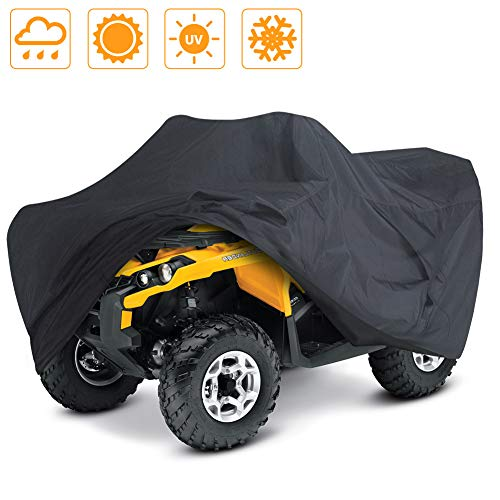 LotFancy All Weather ATV Cover, Extra Large Waterproof Heavy Duty Outdoor Protection Protects 4 Wheeler from Sun Snow Rain UV for Yamaha Raptor Honda TRX Kawasaki (XL 98x47x45 inches)
