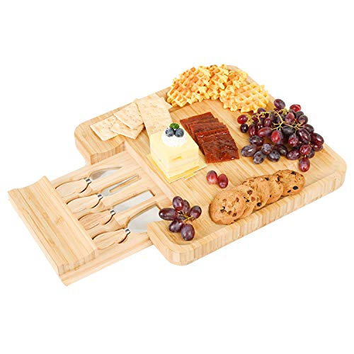 Prometis Natural Organic Bamboo Cheese Board Set, Including 4 Stainless Steel Knife Serving Utensils, Charcuterie Platter & Serving Tray with Cutlery in Slide Out Drawer- Perfect HouseWarming Gift