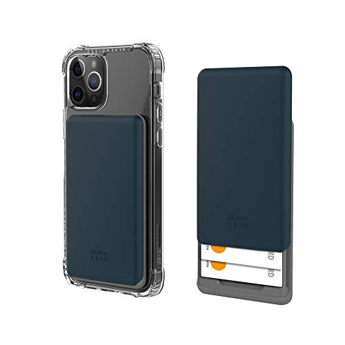Design Skin Stick-on Sliding Card Holder, Universal Cell Phone Wallet Case with Hidden Card Slot, Compatible with All Smartphones - Navy (ITM17348)