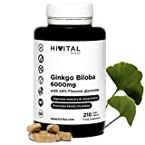 Ginkgo Biloba 6000 mg | 210 cápsulas veganas para 7 meses | 100% Natural con 24% Flavonoides y 6% Terpenos | Potente antioxidante que mejora la memoria, la concentración y la circulación sanguínea