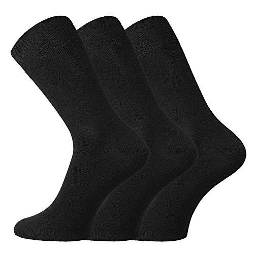 TippTexx24 6/12 Paar Wellnes-Socken aus Bio-Baumwolle mit Anti-Loch-Garantie - Socken für eine bessere Welt (Schwarz, 43/46)