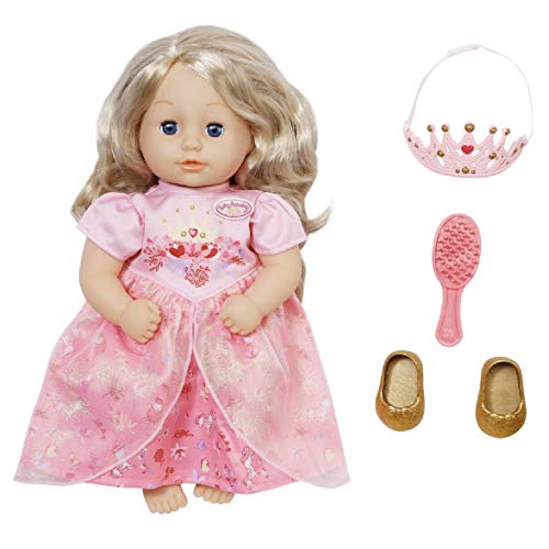 Zapf Creation 703984 Baby Annabell Little Sweet Princess Prinzessinen Puppe mit Haaren und Schlafaugen 36 cm