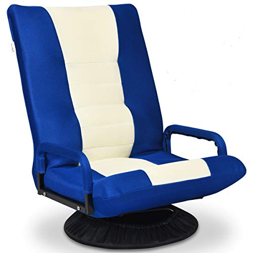 Giantex 360 Degree Swivel Gaming Floor Chair w/Armrests, Adjustable 6-Position Folding Floor Chair, Padded Backrest Great for Games Reading, Lazy Sofa Lounger for Teens Adults (Blue/Beige)