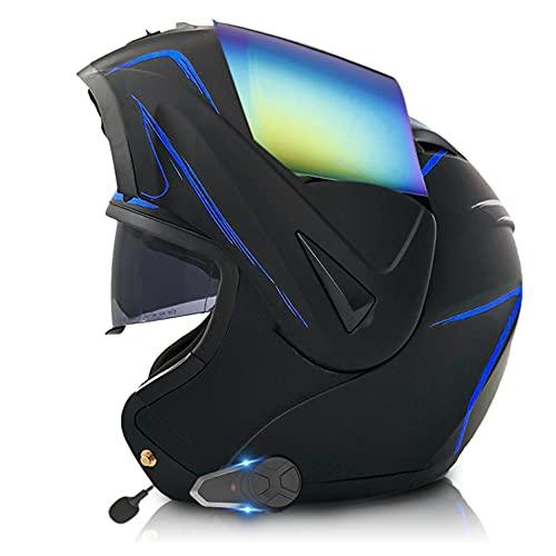 Casco Moto Modular Bluetooth Integrado walkie-Talkie con Doble Visera,Carcasa de ABS,ECE Homologado,FM Radio, MP3 Player Para Hombres/Mujeres Adultos R,M