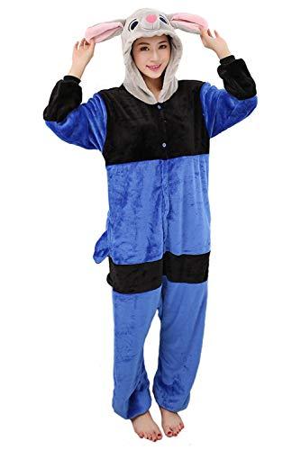 Judy - Pijama de franela con diseño de conejos de animal, suave, para saunaman, unisex, color azul, S