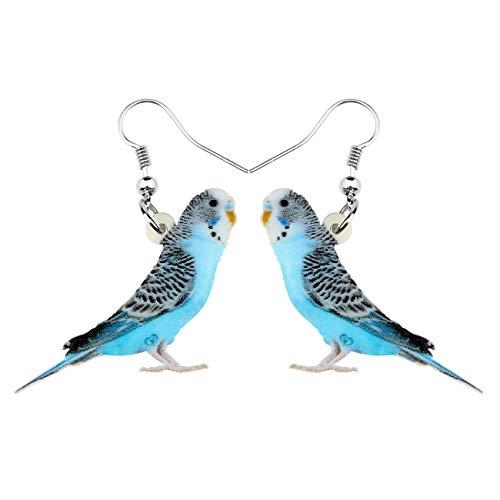 Sweet Blue Budgie Budgerigar Bird Acrylic Dangle Earrings Laser cut Portrait Print Women Girls