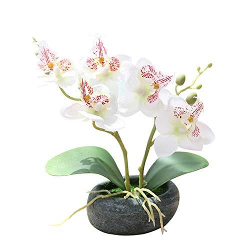 Flikool 2 Steli Orchidea Artificiali in Vaso Phalaenopsis Fiori Artificiale in Seta Finta Orchidee Bonsai Piante Artificiali per Balcone Casa Ufficio Tavolo Decorazione - Bianco