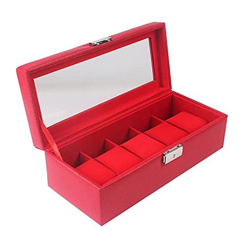 Caja de Relojes para Organizadora y Exhibición, Elegante de los hombres PU Cuero 5 Slots Watch Box Lockable 5 Grids Joyas Mostrar caso Organizador Joyería Caja de almacenamiento Bandeja Showcase Expos