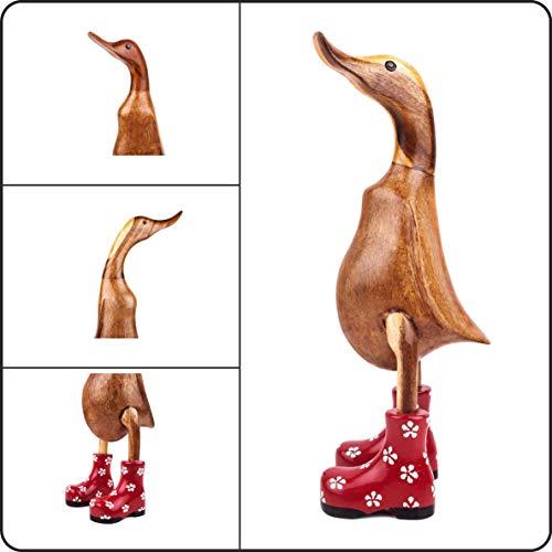 Handgemachte Ente aus Holz – dekorative Holzfigur - Heimdeko - perfektes Einweihungsgeschenk - Holzspielzeug Ente - Gestiefelte Ente rot geblümt (32 cm)