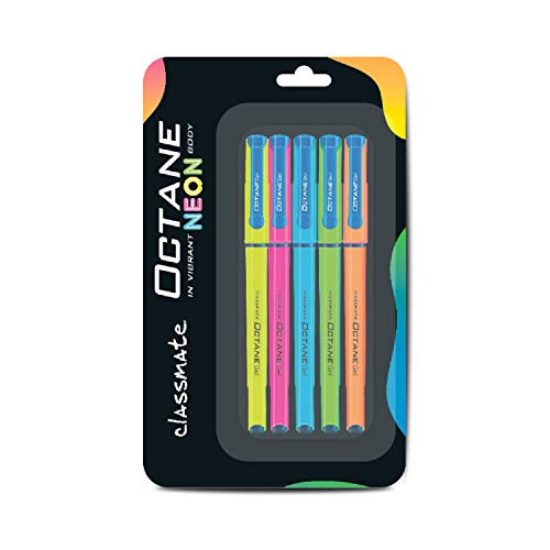 Classmate Octane Neon- Blue Gel Pens(Pack of 5)|Smooth Writing Pen|Attractive body colour for Boys & Girls|Waterproof ink for smudge free writing|Preferred by Students for Exam|Study at home essential
