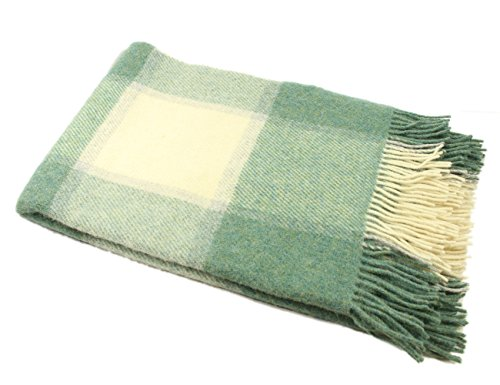 Buy Biddy Murphy Irish Wool Blanket Knee Throw Green & White Check Small 54 Inches Long x 45 Inches ...