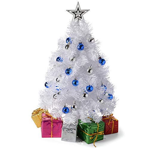 Prextex 23-Inch DIY Tabletop Mini White Christmas Tree with Warm-White LED Lights, Star Treetop, Decorated Gift Boxes and Hanging Ornaments for DIY Christmas Decoration