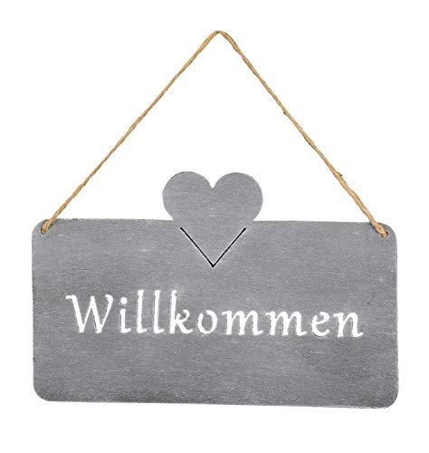 levandeo Schild Willkommen 25x16 cm Außen Garten-Deko Grau Beton-Optik Herz Metall Türschild Wandbild Außendeko