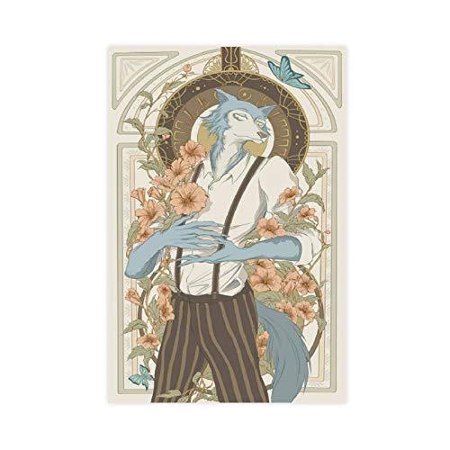 Anime-Poster Beastars Legoshi, 1 Leinwand-Poster, Wandkunst, Dekordruck, Gemälde für Wohnzimmer, Schlafzimmer, Dekoration, 60 x 90 cm, ohne Rahmen
