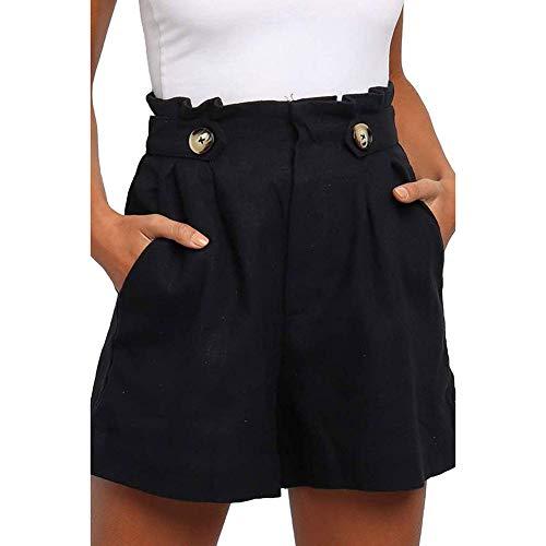 Short Sport Femme, Bermuda Yoga Legging Running Gym Short Jogging Pantalon Court Fitness Respirant Ete Casual Hotpants Noir L