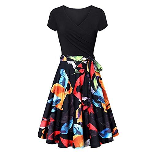 Dames Jurken Korte Mouw Split Flowy Party Lange Jurk Bloemenprint Knop omhoog Vintage Swing Jurk voor Dames Vest Tops Zwart S,M,L,XL,XXL