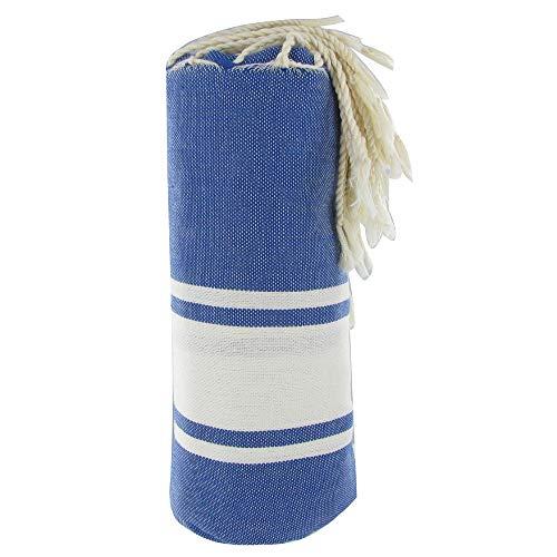 LES POULETTES Fouta Drap Plage et Hammam Coton Couleur Bleu 100 x 200cm