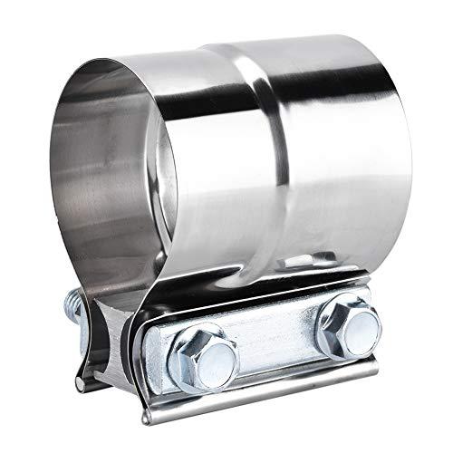 Abrazadera de la banda de escape de la articulación del regazo, Akozon 2.5in Acero inoxidable Abrazadera universal del tubo de escape del automóvil Banda en forma de U