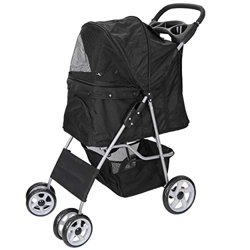 ZENY Pet Stroller for Cats/Dogs - 4 Wheels Foldable Carrier Strolling Cart with Storage Basket and...