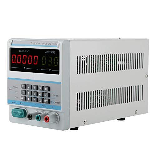 Fuente de alimentación regulada por voltaje estabilizado de CC, 0-30V/0-5A Fuente de alimentación de CC variable con pantalla LCD de dígitos para laboratorio/reparación electrónica(Enchufe de la UE)