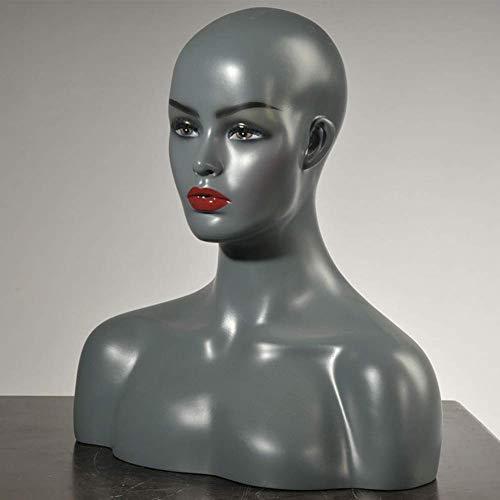 WEHOLY Modèle éducatif PVC Femme Mannequin tête Perruque Bijoux Lunettes Chapeau Affichage Moule, Mannequin tête Buste Buste avec Perruque