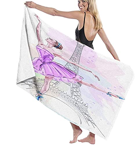 Toalla De Playa Microfibra,Hermosa Bailarina Posando Y Bailando En La Torre Eiffel,Bailarina De Ballet Chica Dibujada A Mano Toalla De Baño Grande Toalla De Playa Ligera Viajes Familia