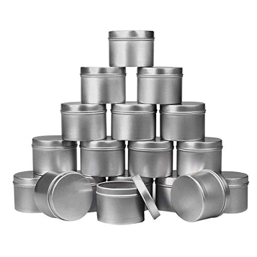 Kamenda 18 Aluminium Zinn Gläser Blechdose mit Deckel Rund Silber, Kerzen Behhlter Lagertank für DIY Kerzen Herstellung/Gewürze/Tee