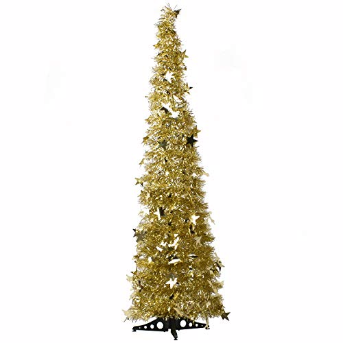 AOFOX Pop-Up Artificial Christmas Tree, 1.2m Collapsible Portable Xmas Tree with Easy-Assembly Stand Features Sequins Accents for Home Apartment, Store Christmas Decorations (Gold)