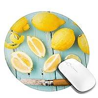 丸型マウスパッド ゲーミングマウスパッド レモンプリント おしゃれ オフィス自宅兼用 滑り止めゴム底 耐洗い表面 厚地 精密度アップ 光学式マウス対応 20*20cm 厚さ3mm