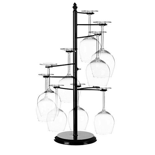 MyGift Freestanding Tabletop Stemware RackSpiraling 10 Wine Glass Holder Black