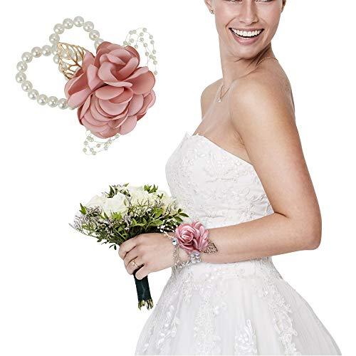 RMENOOR - Ramillete de muñeca con Flores Artificiales de Rosas y Perl