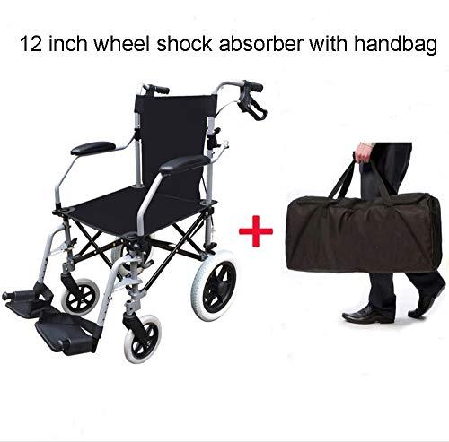 SSLL Reisrolstoel, licht, opvouwbaar, rolstoel, lichtgewicht, aluminium, Protable, ligstoel voor personen met lichamelijke beperkingen, en oudere mensen, zitbreedte 45 cm, belastbaarheid 100 kg C