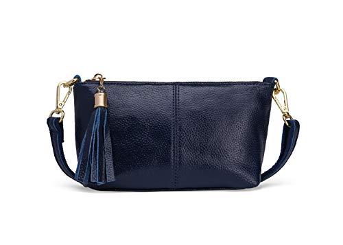 Damen Crossbody Tasche Leder Armband Clutch Geldbörse mit Quaste, Blau (dunkelblau), Medium