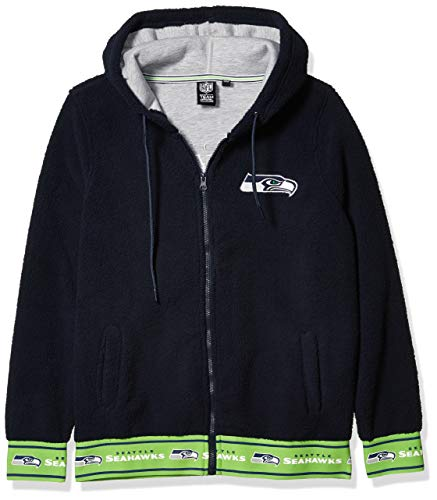 Ultra Game NFL Seattle Seahawks Womens Full Zip Sherpa Jersey Hoodie with Team Logo, Team Color, Large
